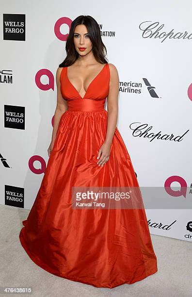 Kim Kardashian arrives for the 22nd Annual Elton John AIDS Foundation's Oscar Viewing Party held at West Hollywood Park on March 2 2014 in West...