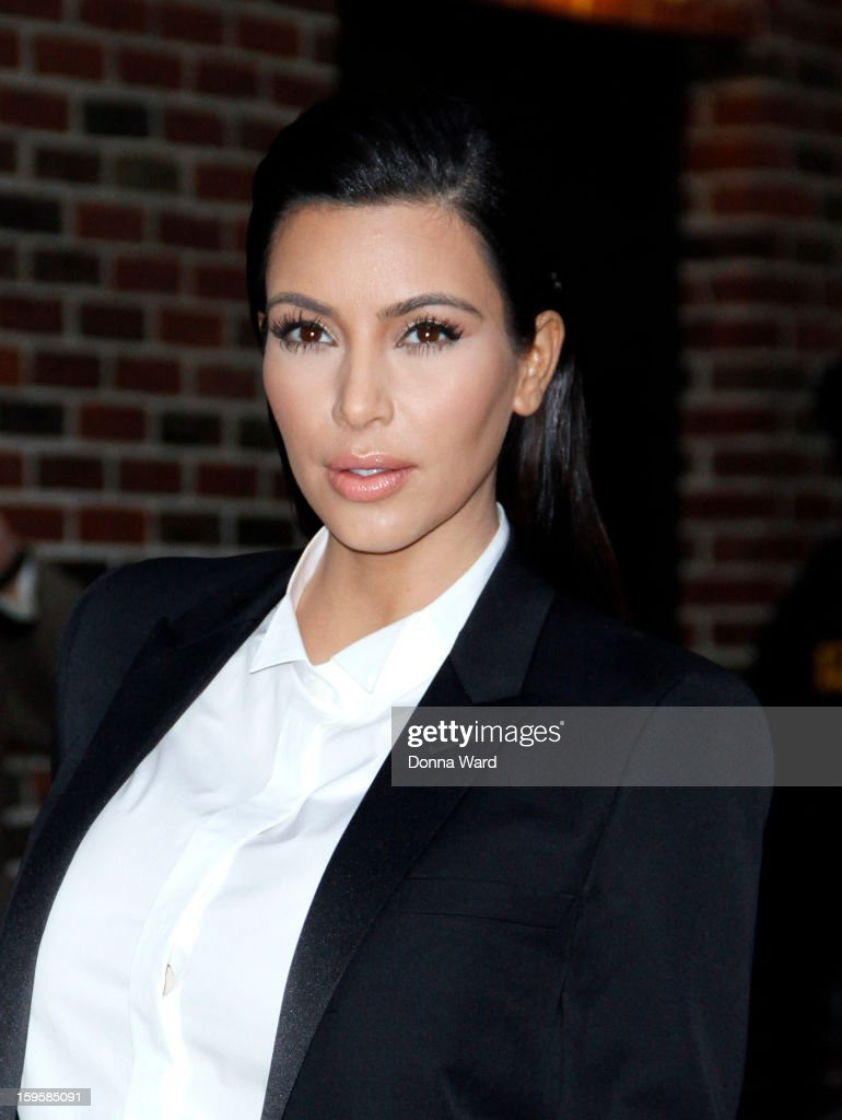 <a gi-track='captionPersonalityLinkClicked' href=/galleries/search?phrase=Kim+Kardashian&family=editorial&specificpeople=753387 ng-click='$event.stopPropagation()'>Kim Kardashian</a> arrives for 'The Late Show with David Letterman' at Ed Sullivan Theater on January 16, 2013 in New York City.