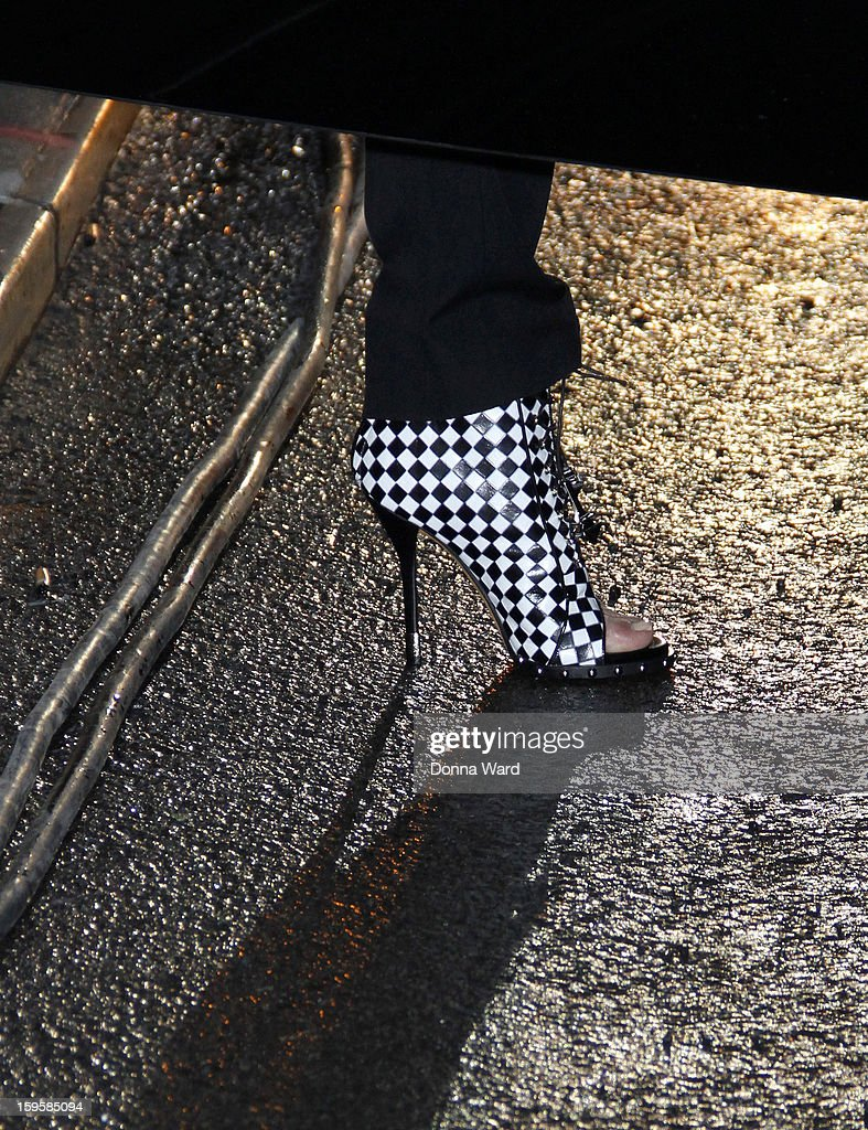 Kim Kardashian (shoe detail) arrives for 'The Late Show with David Letterman' at Ed Sullivan Theater on January 16, 2013 in New York City.