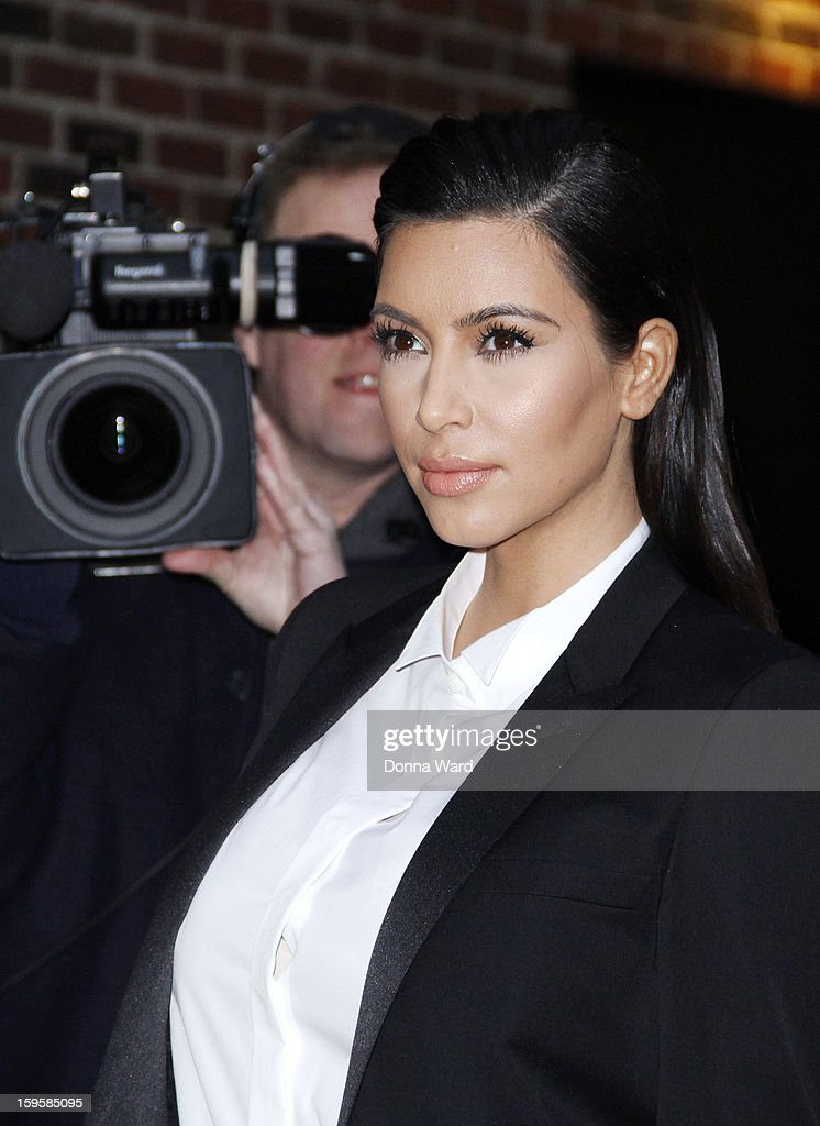 Kim Kardashian arrives for 'The Late Show with David Letterman' at Ed Sullivan Theater on January 16, 2013 in New York City.