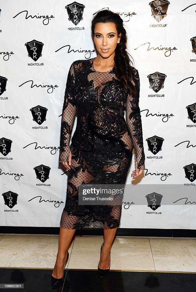 Kim Kardashian arrives for the New Year's Eve countdown at 1 OAK Nightclub At The Mirage Hotel & Casino on December 31, 2012 in Las Vegas, Nevada.