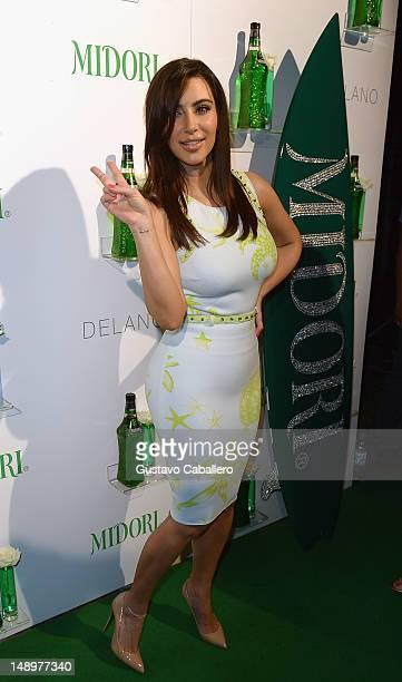 Kim Kardashian arrives to host Midori Beachside Bash at Delano Beach Club on July 20 2012 in Miami Beach Florida