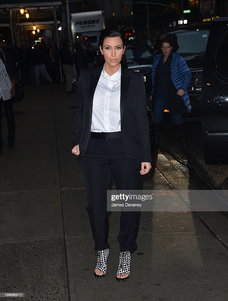 Kim Kardashian arrives to 'Late Show with David Letterman' at Ed Sullivan Theater on January 16, 2013 in New York City.