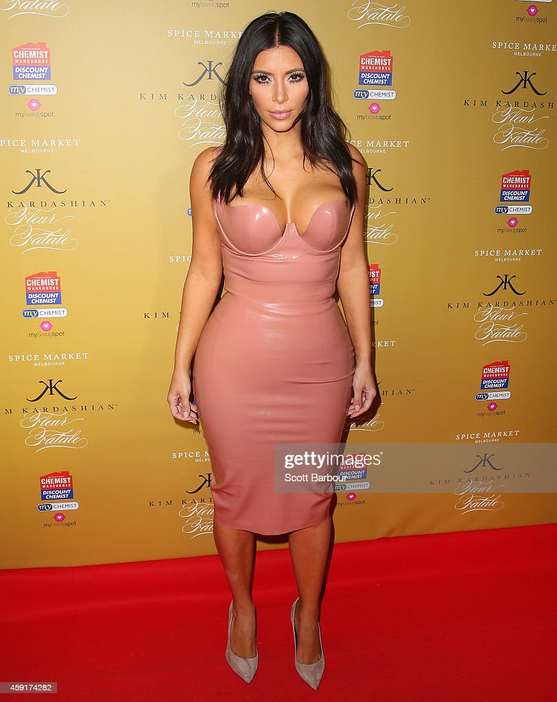 <a gi-track='captionPersonalityLinkClicked' href=/galleries/search?phrase=Kim+Kardashian&family=editorial&specificpeople=753387 ng-click='$event.stopPropagation()'>Kim Kardashian</a> arrives to promote her new fragrance 'Fleur Fatale' at a Spice Market event on November 18, 2014 in Melbourne, Australia.