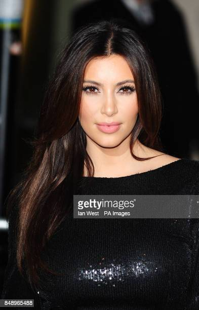 Kim Kardashian arriving at a party to celebrate the UK launch of the Kardashian Kollection at Aqua London