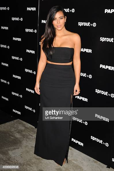 Kim Kardashian attends Paper Magazine Sprout By HP DKNY Break The Internet Issue Release Arrivals at 1111 Lincoln Road on December 4 2014 in Miami...