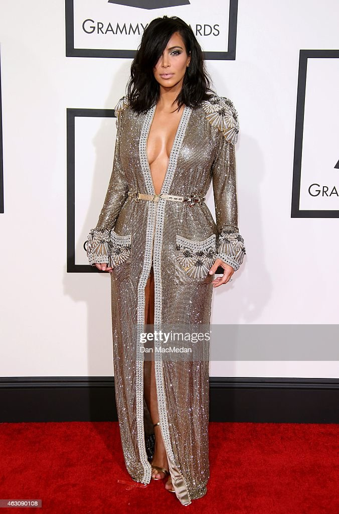 Kim Kardashian attends The 57th Annual GRAMMY Awards at the STAPLES Center on February 8 2015 in Los Angeles California