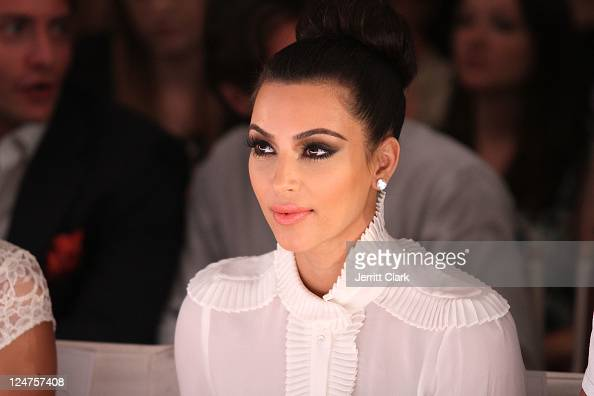 Kim Kardashian attends the Abbey Dawn by Avril Lavigne Spring 2012 fashion show during Style360 at the Metropolitan Pavilion on September 12 2011 in...
