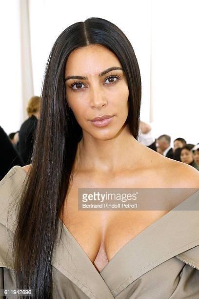 Kim Kardashian attends the Balenciaga show as part of the Paris Fashion Week Womenswear Spring/Summer 2017 on October 2 2016 in Paris France