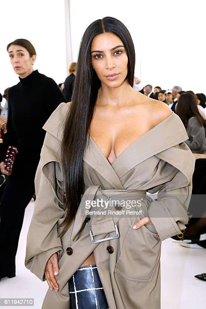 Kim Kardashian attends the Balenciaga show as part of the Paris Fashion Week Womenswear Spring/Summer 2017 on October 2 2016 in Paris France