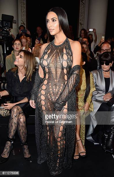 Kim Kardashian attends the Balmain show as part of the Paris Fashion Week Womenswear Spring/Summer 2017 on September 29 2016 in Paris France