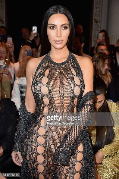 Kim kardashian attends the balmain show as part of the paris fashion