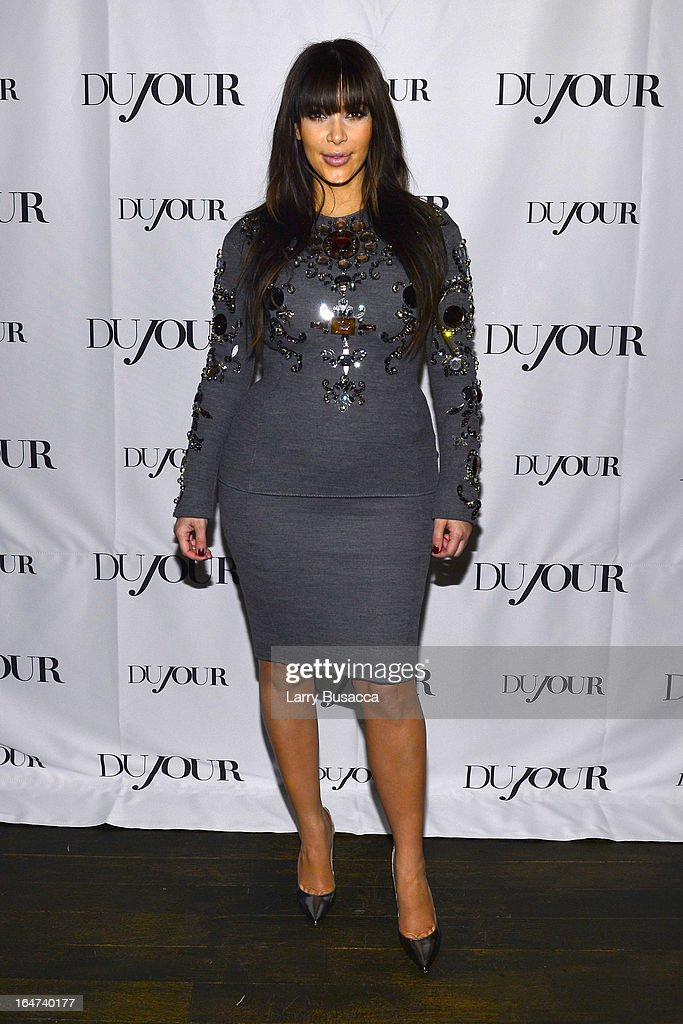 <a gi-track='captionPersonalityLinkClicked' href=/galleries/search?phrase=Kim+Kardashian&family=editorial&specificpeople=753387 ng-click='$event.stopPropagation()'>Kim Kardashian</a> attends the DuJour Magazine Spring 2013 Issue Celebration at The Darby on March 27, 2013 in New York City.