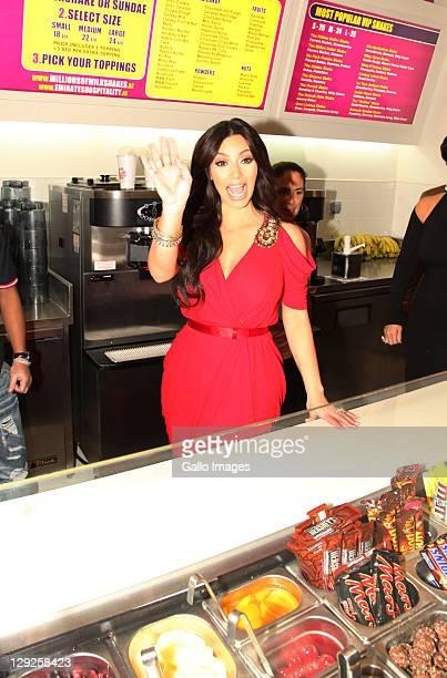 Kim Kardashian attends the opening of the new Millions of Milkshakes store at Dubai Mall on October 14 2011 in Dubai United Arab Emitates
