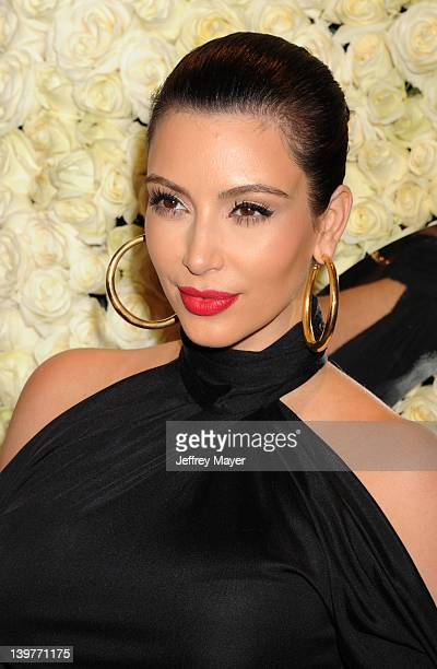 Kim Kardashian attends the QVC's'Buzz On The Red Carpet' Cocktail Party at Four Seasons Hotel Los Angeles at Beverly Hills on February 23 2012 in...
