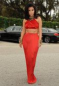 Kim Kardashian attends the Roc Nation Grammy brunch on February 7 2015 in Beverly Hills California