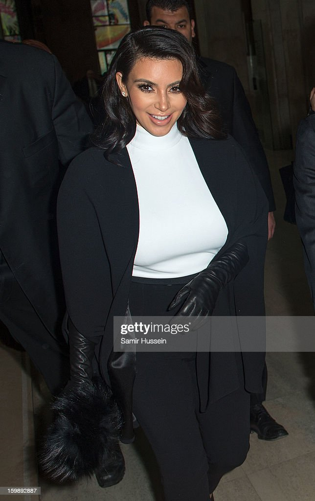 Kim Kardashian attends the Stephane Rolland Spring/Summer 2013 Haute-Couture show as part of Paris Fashion Week at Palais De Tokyo on January 22, 2013 in Paris France.
