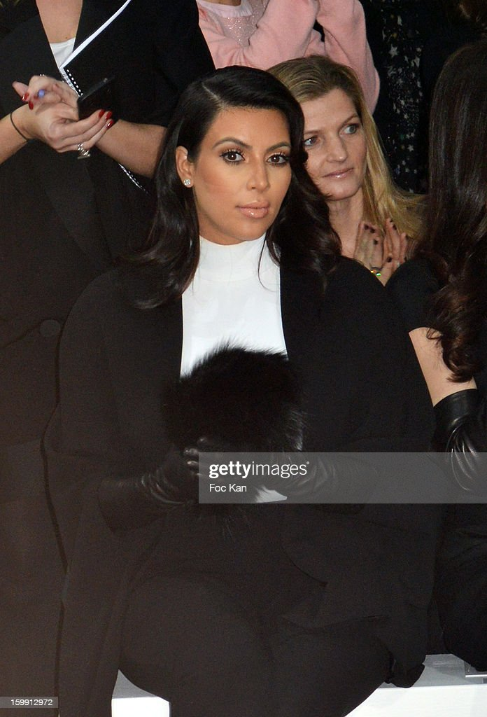 <a gi-track='captionPersonalityLinkClicked' href=/galleries/search?phrase=Kim+Kardashian&family=editorial&specificpeople=753387 ng-click='$event.stopPropagation()'>Kim Kardashian</a> attends the Stephane Rolland Spring/Summer 2013 Haute-Couture show as part of Paris Fashion Week at Palais De Tokyo on January 22, 2013 in Paris, France.