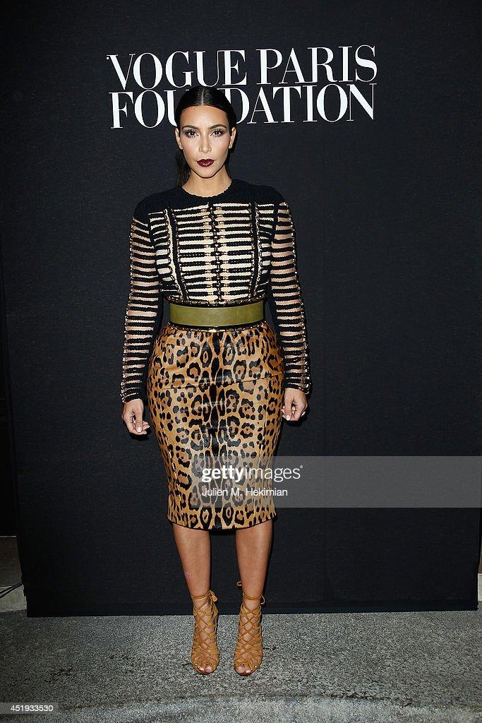 Kim Kardashian attends the Vogue Foundation Gala as part of Paris Fashion Week at Palais Galliera on July 9 2014 in Paris France