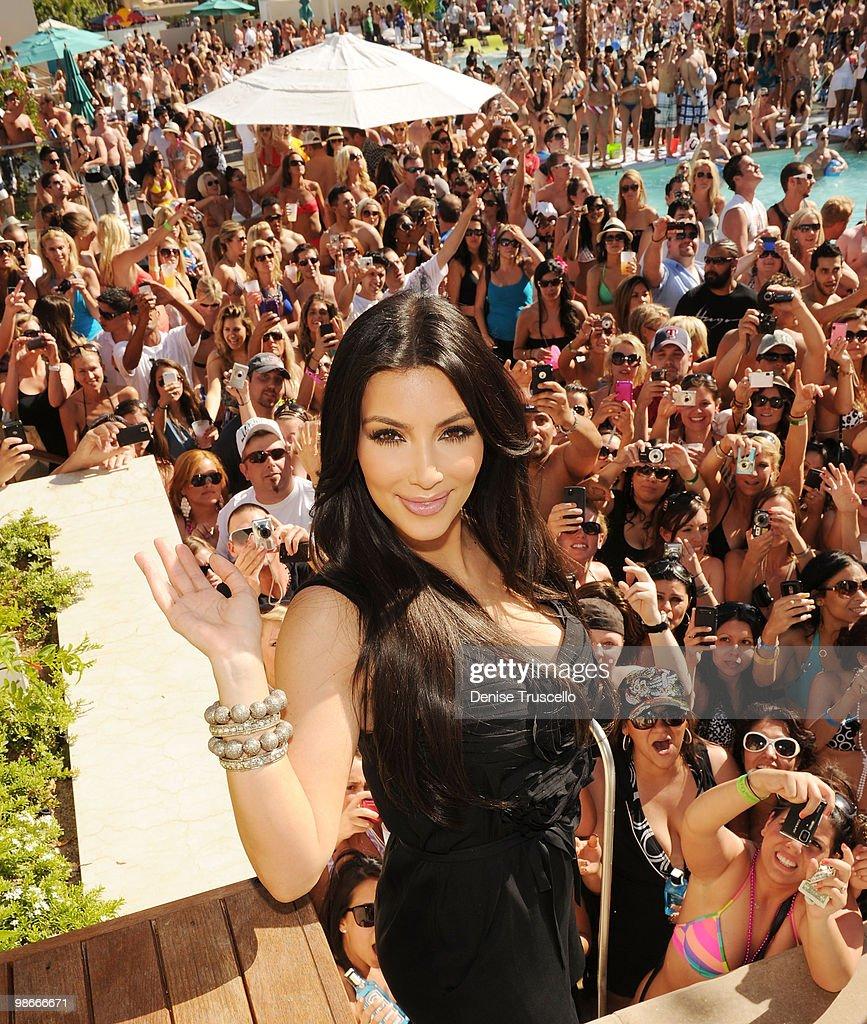 Kim Kardashian celebrates Kourtney Kardashian's birthday at Wet Republic on April 24, 2010 in Las Vegas, Nevada.