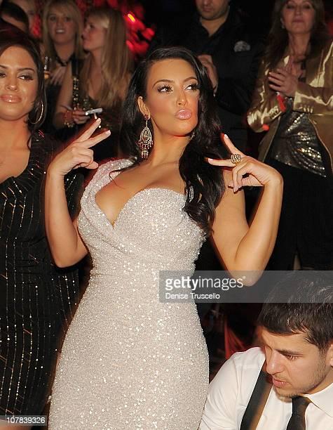 Kim Kardashian celebrates New Year's Eve at TAO Nightclub at the Venetian on December 31 2010 in Las Vegas Nevada
