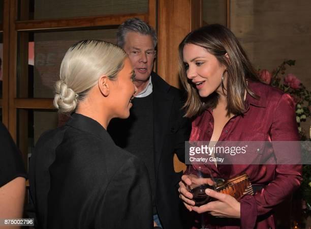 Kim Kardashian David Foster and Katharine McPhee attend Bumble Bizz Los Angeles Launch Dinner At Nobu Malibu at Nobu Malibu on November 15 2017 in...