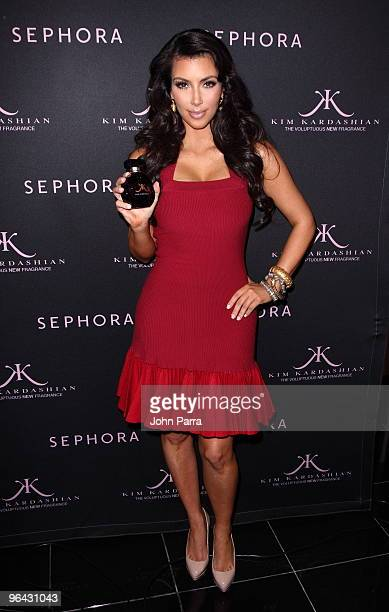 Kim Kardashian debuts her new signature scent at Sephora on February 4 2010 in Miami Beach Florida