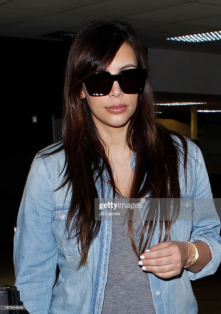 Kim Kardashian is seen at LAX Airport on May 2, 2013 in Los Angeles, California.