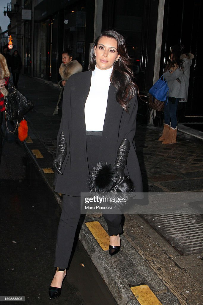 Kim Kardashian is seen leaving the 'Costes' restaurant on January 22, 2013 in Paris, France.