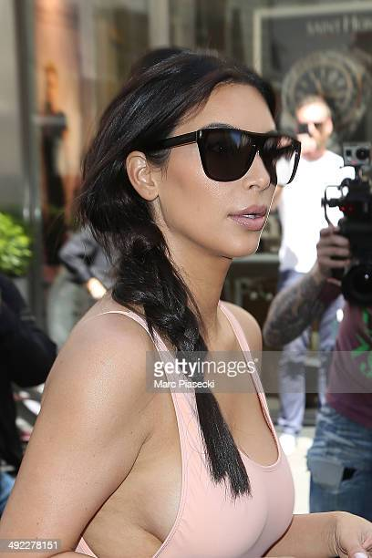 Kim Kardashian is seen strolling in the 'Rue Saint Honore' on May 19 2014 in Paris France