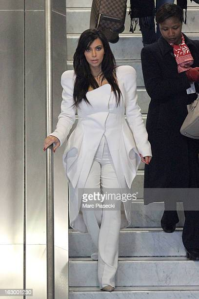 Kim Kardashian is sighted at Roissy airport on March 3 2013 in Paris France