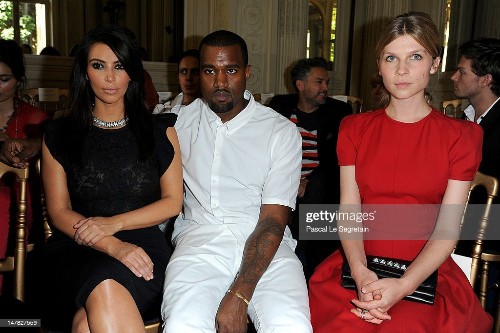 Kim Kardashian, Kanye West and Clemence Poesy attend the Valentino Haute-Couture show as part of Paris Fashion Week Fall / Winter 2012/13 at Hotel Salomon de Rothschild on July 4, 2012 in Paris, France.