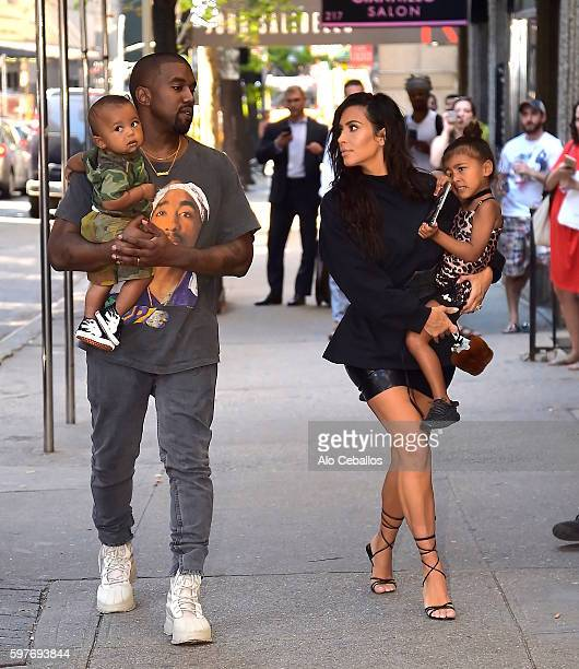 Kim Kardashian Kanye West with North West and Saint West are spotted in the Upper East Side on August 29 2016 in New York City