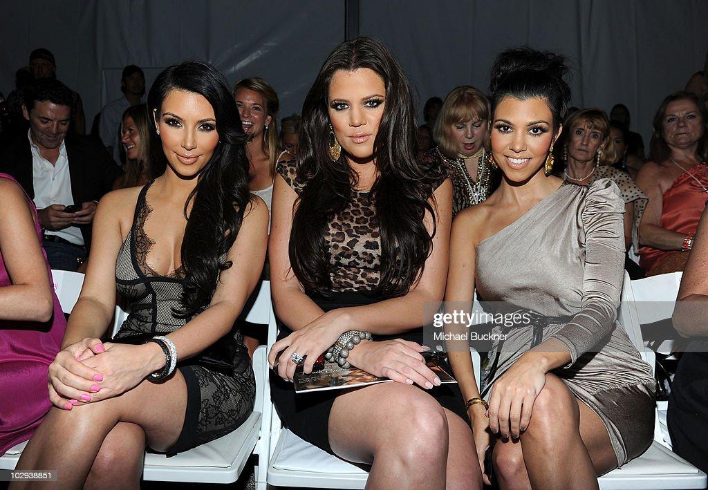Kim Kardashian Khloe Kardashian and Kourtney Kardashian attend the Beach Bunny Swimwear 2011 fashion show during MercedesBenz Fashion Week Swim at...