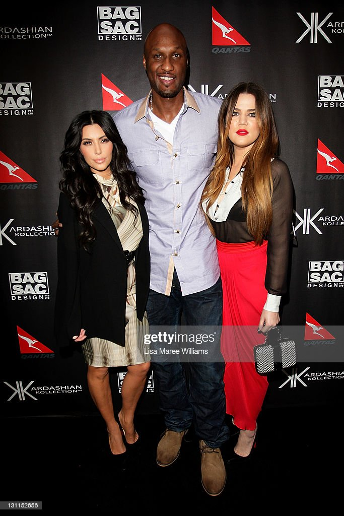 <a gi-track='captionPersonalityLinkClicked' href=/galleries/search?phrase=Kim+Kardashian&family=editorial&specificpeople=753387 ng-click='$event.stopPropagation()'>Kim Kardashian</a>, <a gi-track='captionPersonalityLinkClicked' href=/galleries/search?phrase=Khloe+Kardashian&family=editorial&specificpeople=3955023 ng-click='$event.stopPropagation()'>Khloe Kardashian</a> Odom and <a gi-track='captionPersonalityLinkClicked' href=/galleries/search?phrase=Lamar+Odom&family=editorial&specificpeople=201519 ng-click='$event.stopPropagation()'>Lamar Odom</a> arrive at the Kardashian Kollection Handbag launch at Hugo's on November 2, 2011 in Sydney, Australia. The Kardashian sisters will make an in-store appearance at David Jones tomorrow.