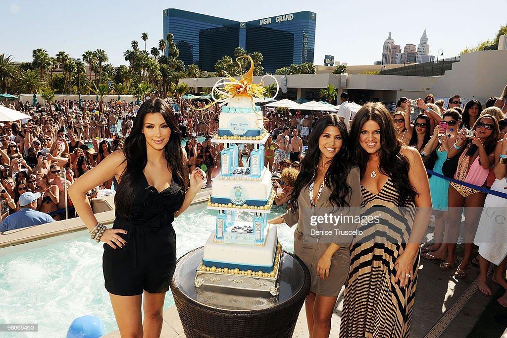 Kim Kardashian, Kourtney Kardashian and Khloe Kardashian celebrate Kourtney's birthday at Wet Republic on April 24, 2010 in Las Vegas, Nevada.