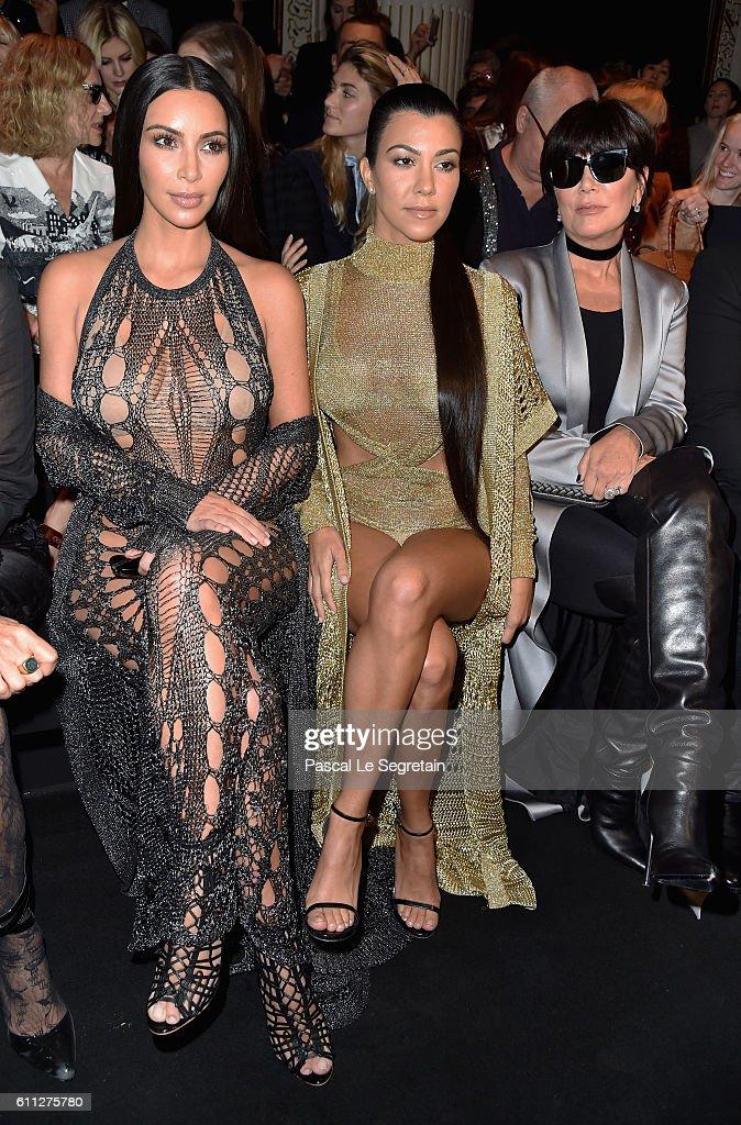 Kim Kardashian, Kourtney Kardashian and Kris Jenner attend the Balmain show as part of the Paris Fashion Week Womenswear Spring/Summer 2017 on September 29, 2016 in Paris, France.