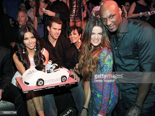 Kim Kardashian Kris Humphries Kris Jenner Khloe Kardashian and Lamar Odom celebrate Kim Kardashian's birthday at Marquee Nightclun at the...