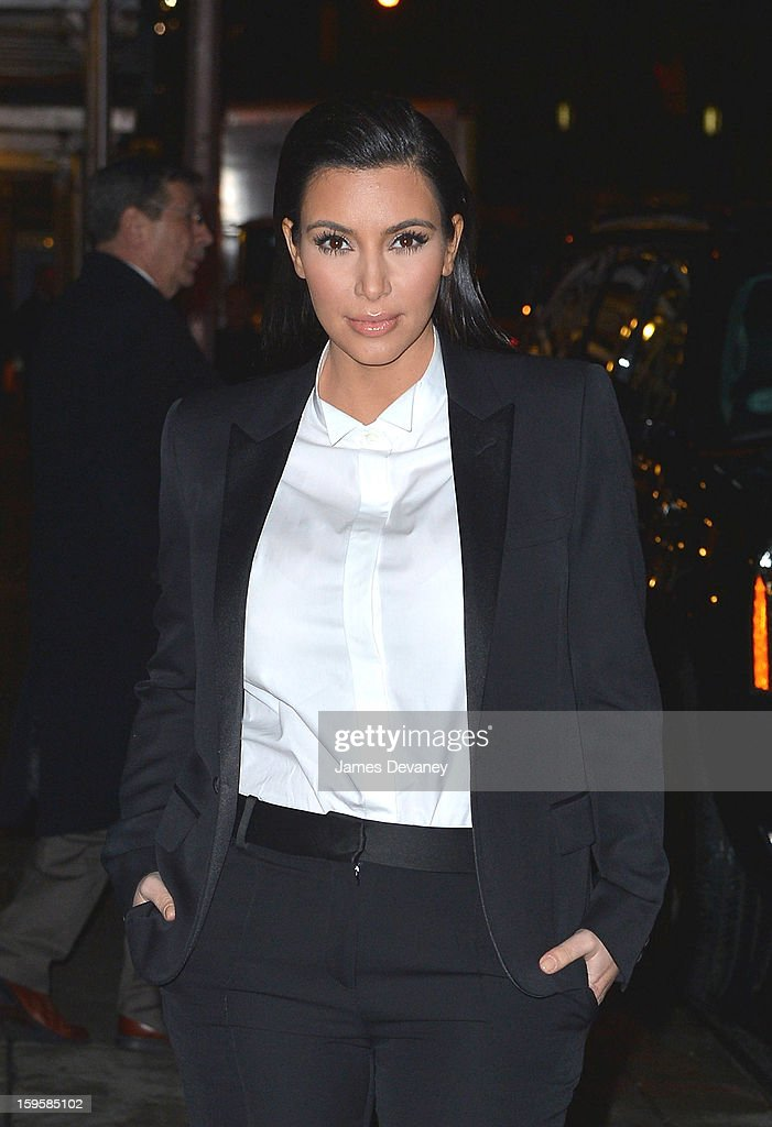 <a gi-track='captionPersonalityLinkClicked' href=/galleries/search?phrase=Kim+Kardashian&family=editorial&specificpeople=753387 ng-click='$event.stopPropagation()'>Kim Kardashian</a> leaves 'Late Show with David Letterman' at Ed Sullivan Theater on January 16, 2013 in New York City.