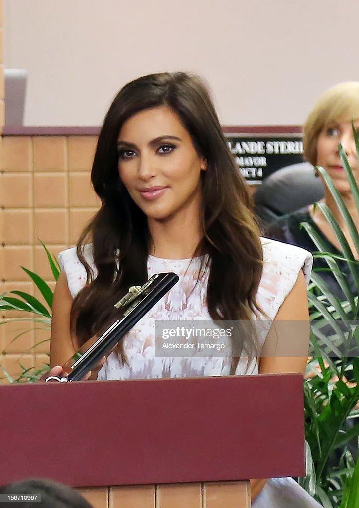 Kim Kardashian make an appearance at North Miami City Hall to receive keys to the City of North Miami on November 19, 2012 in North Miami, Florida.