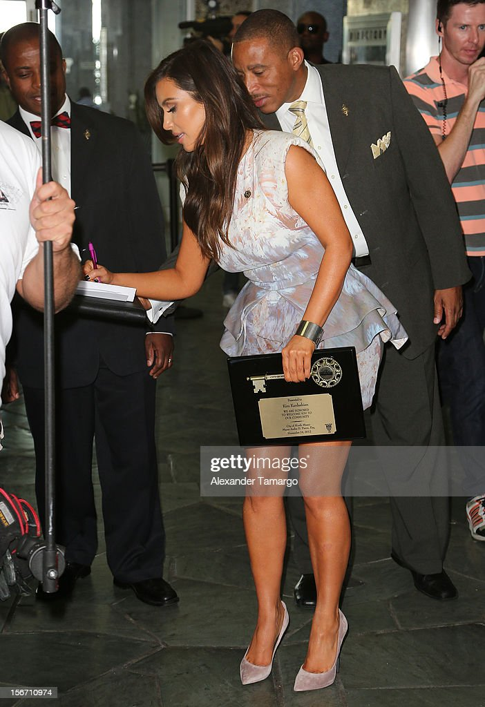 Kim Kardashian makes an appearance at North Miami City Hall to receive keys to the City of North Miami on November 19, 2012 in North Miami, Florida.