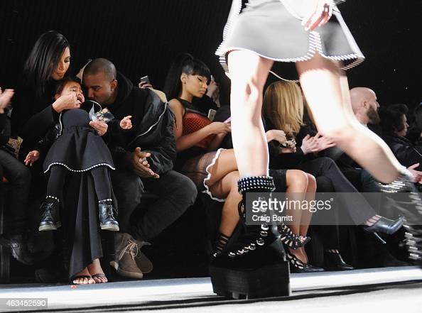 Kim Kardashian North West Kanye West and Nicki Minaj attend the Alexander Wang Fashion Show during MercedesBenz Fashion Week Fall 2015 at Pier 94 on...