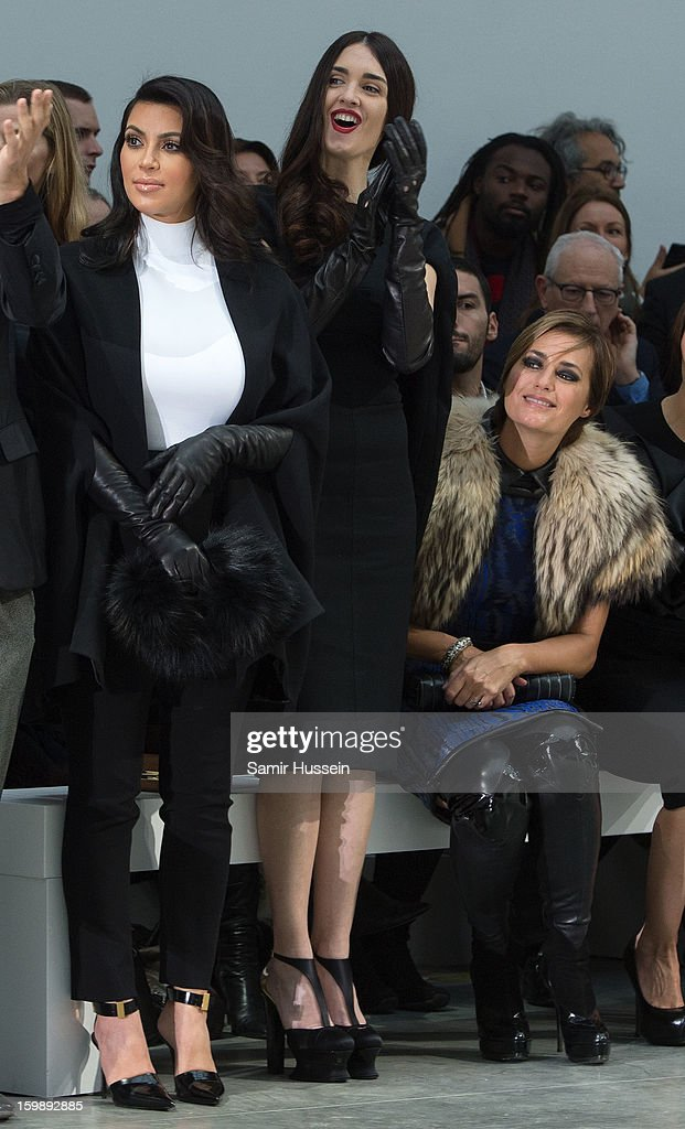 Kim Kardashian, Paz Vega and Yasmin Le Bon watch the Stephane Rolland Spring/Summer 2013 Haute-Couture show as part of Paris Fashion Week at Palais De Tokyo on January 22, 2013 in Paris France.