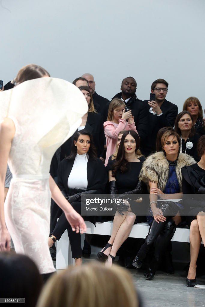 Kim Kardashian, Paz Vega and Yasmine LeBon attend the Stephane Rolland Spring/Summer 2013 Haute-Couture show as part of Paris Fashion Week at Palais De Tokyo on January 22, 2013 in Paris, France.