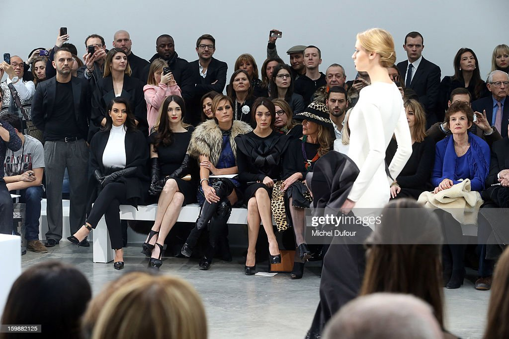 Kim Kardashian, Paz Vega, Yasmine LeBon and Sophia Assaidi sit in front row at the Stephane Rolland Spring/Summer 2013 Haute-Couture show as part of Paris Fashion Week at Palais De Tokyo on January 22, 2013 in Paris, France.