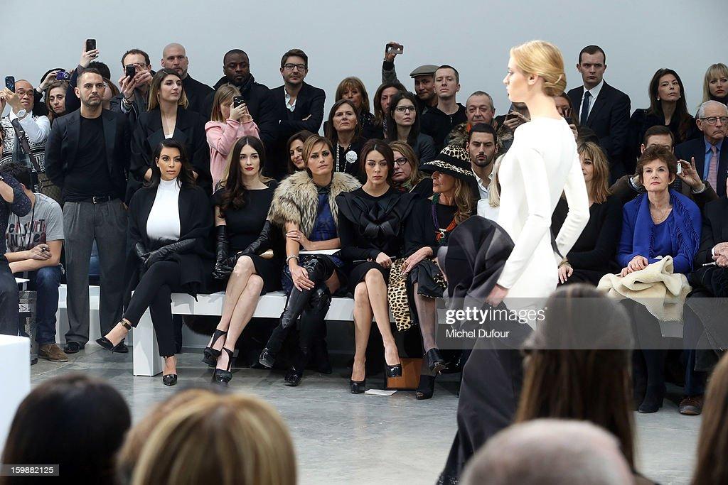 Kim Kardashian, Paz Vega, Yasmine LeBon and Sophia Assaidi sit in front row at the Stephane Rolland Spring/Summer 2013 Haute-Couture show as part of Paris Fashion Week at Palais De Tokyo on January 22, 2013 in Paris, France.