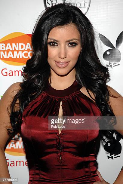 Kim Kardashian poses at the Playboy celebration for December cover girl Kim Kardashian at Retreat on November 6 2007 in New York City