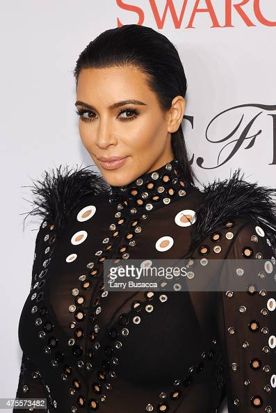 Kim Kardashian poses on the winners walk at the 2015 CFDA Fashion Awards at Alice Tully Hall at Lincoln Center on June 1 2015 in New York City