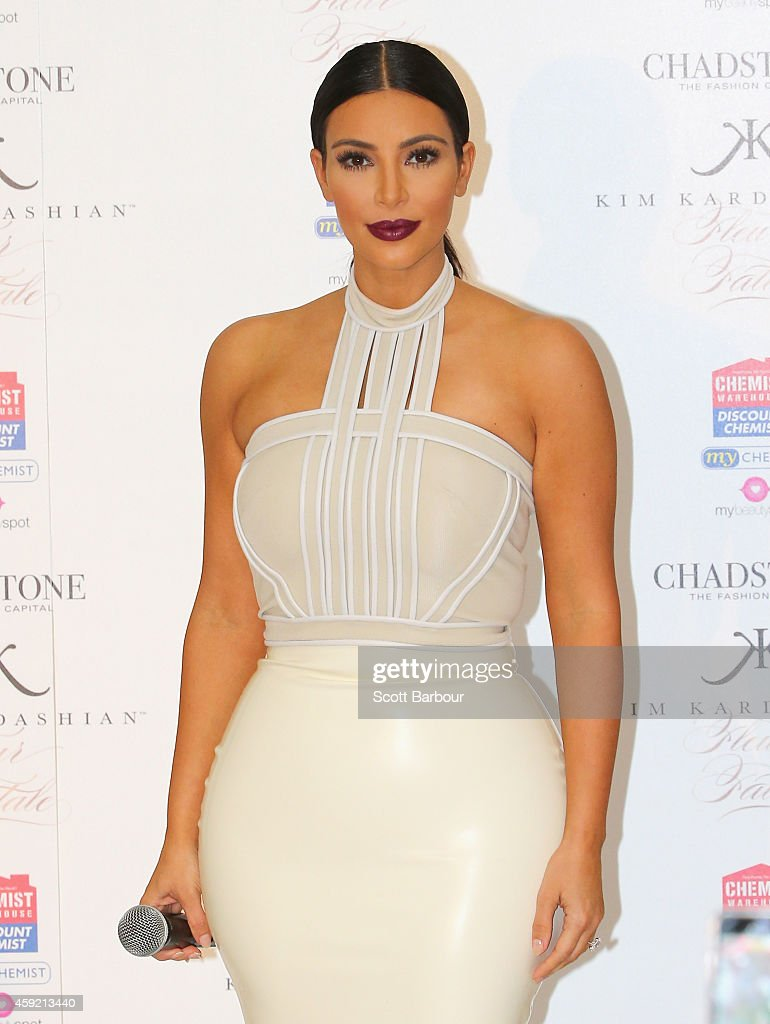 <a gi-track='captionPersonalityLinkClicked' href=/galleries/search?phrase=Kim+Kardashian&family=editorial&specificpeople=753387 ng-click='$event.stopPropagation()'>Kim Kardashian</a> promotes her new fragrance 'Fleur Fatale' at Chadstone Shopping Centre on November 19, 2014 in Melbourne, Australia.