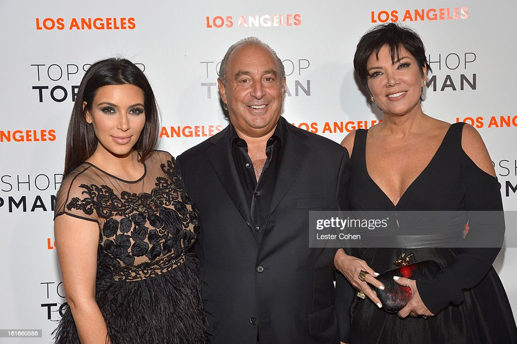 Kim Kardashian, proprietor Sir Philip Green and Kris Jenner arrive at the Topshop Topman LA Opening Party at Cecconi's West Hollywood on February 13, 2013 in Los Angeles, California.